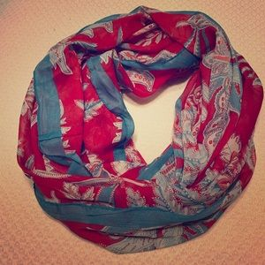 LOFT Red and Turquoise Infinity Scarf